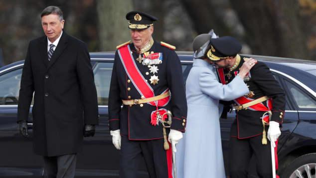 Borut Pahor, König Harald, Königin Sonja und Prinz Haakon