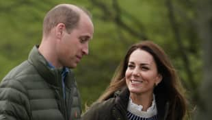 Duchess William and Duchess Kate on their visit to Manor Farm on April 27, 2021