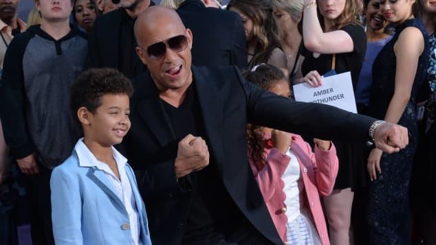 """Vincent Riley und Vin Diesel bei der Premiere des Films """"Guardians of the Galaxy Vol. 2"""""""