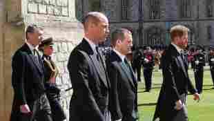 Sir Timothy Laurence, Prinz William, Peter Phillips und Prinz Harry bei der Beerdigung von Prinz Philip am 17. April 2021