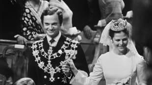 König Carl Gustaf und Königin Silvia bei ihrer Hochzeit 1976