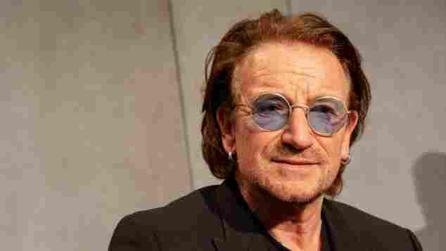 Bono, Frontsänger der Rockband U2, bei einer Pressekonferenz 2018
