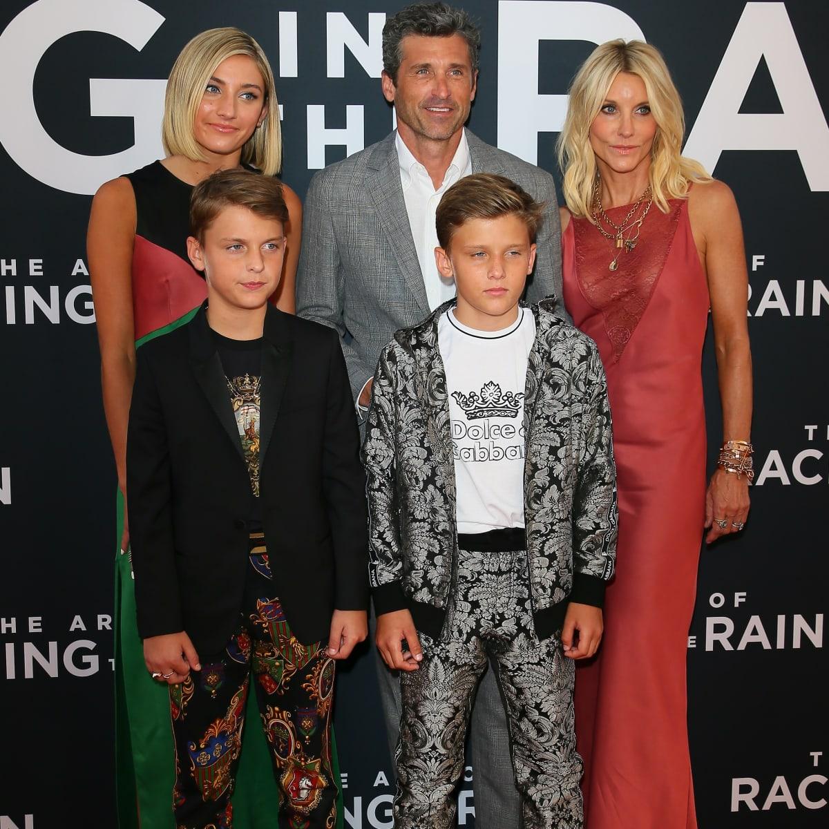 Stylische Familie Patrick Dempsey Mit Seiner Frau Und Den Kids Auf