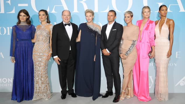 Isabeli Fontana, Alessandra Ambrosio, Fürst Albert II. , Charlene von Monaco, Orlando Bloom, Katy Perry, Toni Garrn and Lais Ribeiro