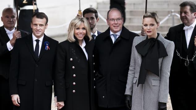 Emmanuel Macron, Brigitte Macron, Fürst Albert II. und Fürstin Charlène von Monaco