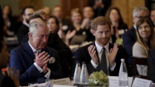 """Prinz Charles und Prinz Harry 2018 beim Treffen des """"International Year of The Reef"""""""
