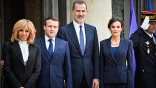 Präsident Macron und seine Frau mit König Felipe und Königin Letizia