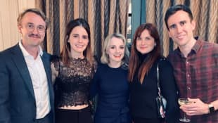 Tom Felton, Emma Watson,  Evanna Lynch, Bonnie Wright und Matthew Lewis feiern eine Harry Potter-Reunion