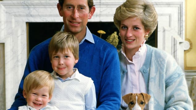 Prinz Harry, Prinz William, Prinz Charles und Lady Diana Wohnung im Kensington Palast