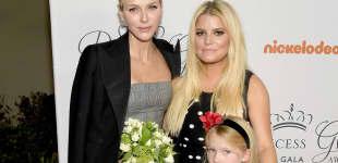 Fürstin Charlène mit Jessica Simpson und ihrer Tochter Maxwell