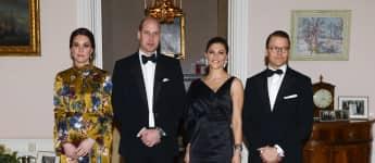 Herzogin Kate, Prinz William, Prinzessin Victoria und Prinz Daniel beim royalen Dinner in Stockholm, Skandinavien-Tour