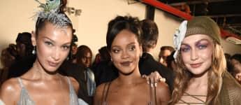 Bella Hadid, Rihanna und Gigi Hadid bei Rihannas Fashionshow