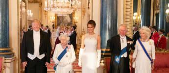 Donald Trump, Königin Elisabeth II., Melania Trump, Prinz Charles, Herzogin Camilla beim Staatsbankett der Queen