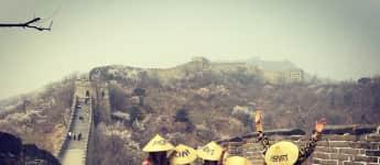 Heidi Klum mit ihren Kindern auf der großen Mauer von China