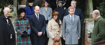 Herzogin Meghan, Prinz Harry und Prinz Philip am 25. Dezember 2017