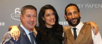 Joachim Llambi, Rebecca Mir und Massimo Sinato bei einer Fashion-Show 2017