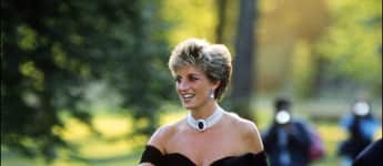 """Princess Diana in 1994, wearing what today is called """"Revenge Dress"""", at the Serpentine Gallery in London."""