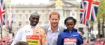 Prince Harry with London marathon winners