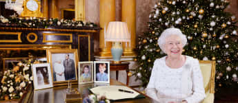 Queen Elizabeth II recording her Christmas Day broadcast