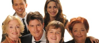 "Die ""Two and a Half Men""-Stars: olland Taylor, Jon Cryer, Charlie Sheen, Marin Hinkle, Angus T. Jones und Conchata Ferrell"