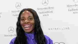 Nikeata Thompson 2015 mit langen Haaren in Berlin