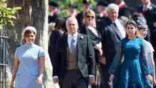 Prinzessin Eugenie, Prinz Andrew und Prinzessin Beatrice bei der Hochzeit von Prinz Harry und Meghan Markle