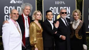 "The cast of ""Bohemian Rhapsody"" at the 76th Golden Globes"