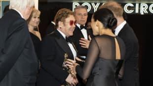 Elton John und Herzogin Meghan auf einer Filmpremiere im Juli 2019