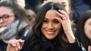 The Duchess of Sussex shows off her engagement ring
