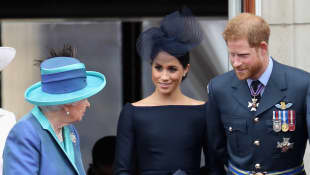 Königin Elizabeth II., Herzogin Meghan und Prinz Harry