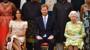 Herzogin Meghan, Prinz Harry und Königin Elisabeth II.