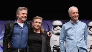 Mark Hamill, Carrie Fisher und Anthony Daniels