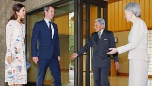 Prinzessin Mary und Prinz Frederik von Dänemark mit japanischem Kaiser Akihito und Frau Michiko