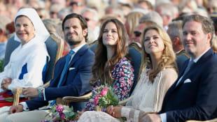 Silvia von Schwenden,Prinz Carl-Philip, Prinzessin Sofia, Prinzessin Madeleine,und-Christopher- O'Neill