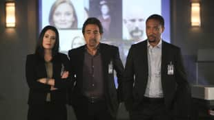 Paget Brewster, Joe Mantegna und Damon Gupton