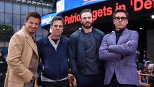 """Avengers""-Darsteller Jeremy Renner, Mark Ruffalo, Chris Evans, Robert Downey Jr."