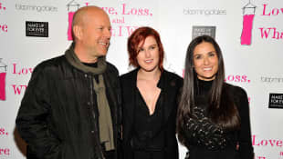 Demi Moore, Bruce Willis, Rumer Willis 2011 im Theater