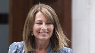 Carole Middleton at St Mary's Hospital after meeting her grandson Prince Louis