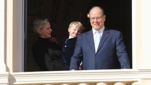 Fürstin Charlène, Prinz Jacques und Fürst Albert II. von Monaco