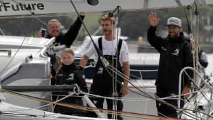 Greta Thunberg und Pierre Casiraghi (zweiter von rechts) segelten gemeinsam nach Amerika