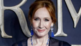 The author and producer Joanne K. Rowling at the 2018 UK premiere of Fantastic Beasts: The Crimes of Grindelwald in London.