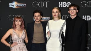 Maisie Williams, Kit Harington, Sophie Turner and Isaac Hempstead-Wright at the season 8 premiere of Game of Thrones.