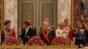 Königin Margrethe und Präsident Macron