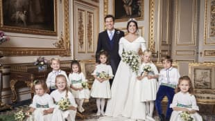 Princess Eugenie, Jack Brooksbank and their flower girls and page boys