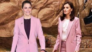 Kronprinzessin Victoria und Königin Letizia im rosafarbenen Anzug