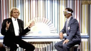 """Thomas Gottschalk und Bernd Fritz bei """"Wetten, dass..?"""" im Jahr 1988"""