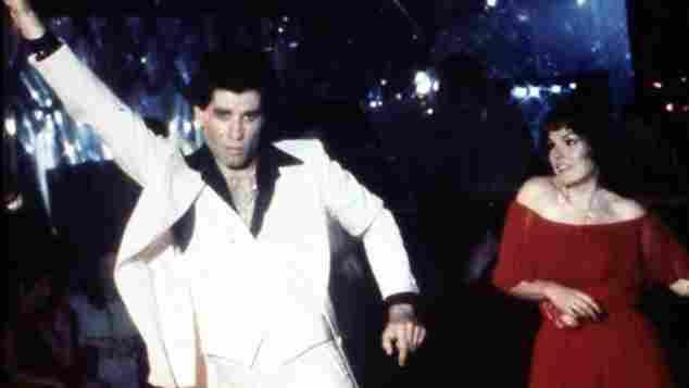 """bekannteste Tanzschritt von John travolta und Karen Lynn Gorney in """"Saturday Night Fever"""""""