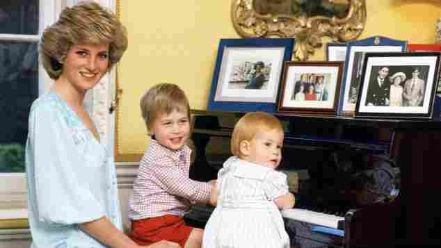 Kinderbild Lady Diana, Prinz William und Prinz Harry