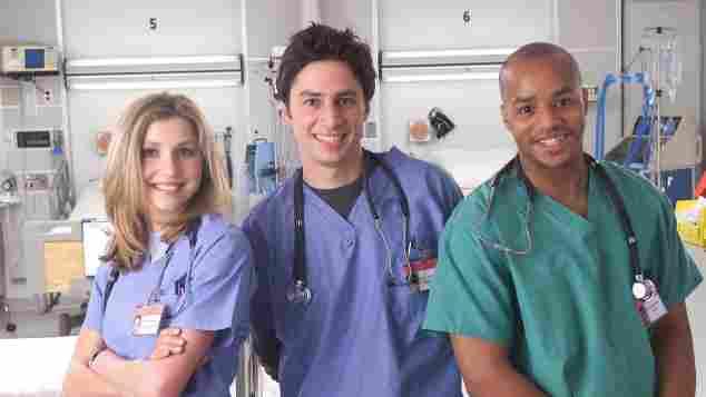 """""""Scrubs""""-Stars Sarah Chalke, Zach Braff und Donald Faison"""