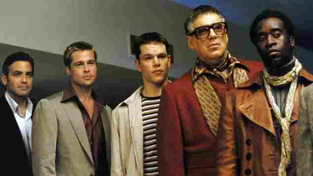 George Clooney, Brad Pitt, Matt Damon, Elliott Gould, Don Cheadle oceans's eleven
